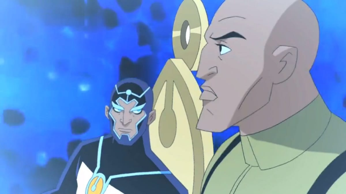 Lex Luthor stands in the foreground in front of Metron. Luthor is looking at the Source Wall, off camera, while Metron looks at Luthor. Series finale of Justice League Unlimited.