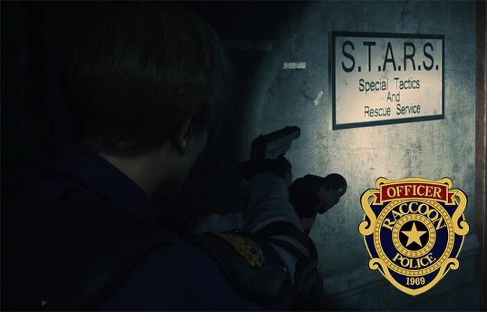 Leon locates the STARS office. The RPD badge is also featured.