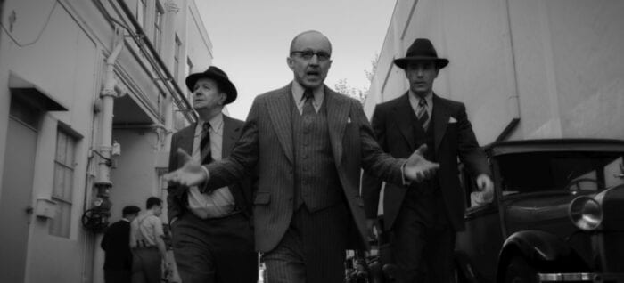 The Mankiewicz brothers follow Louis C. Mayer through the backlot.