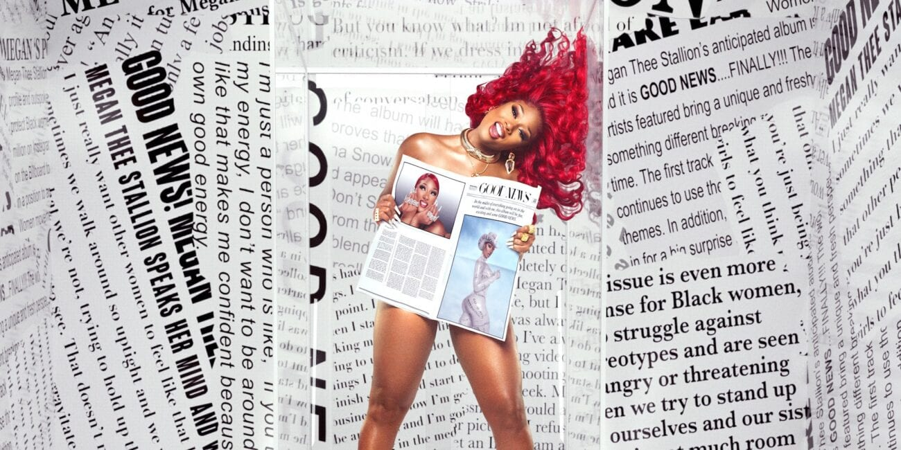 Megan Thee Stallion surrounded by headlines on the Good News album cover