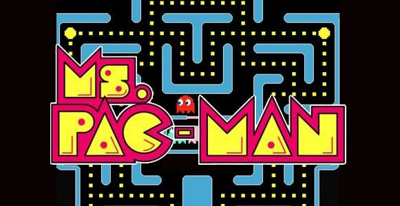 Ms Pac Man logo with the light blue level as background