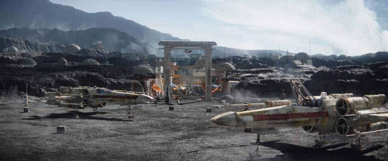 Two X-Wings sit outside of the town on Nevarro