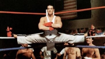 Jean Claude Van Damme as the villain in No Retreat, No Surrender doing the splits