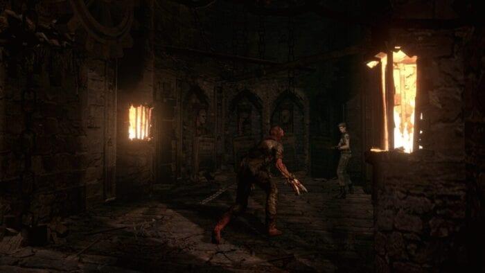 Jill fights a Crimson Head with a shotgun