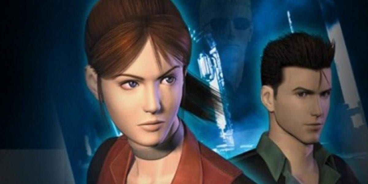 Cover art for Code: Veronica shows Claire and Chris Redfield with Wesker lurking in the background