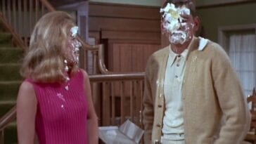 Sam and Darrin from Bewitched with pie on their faces