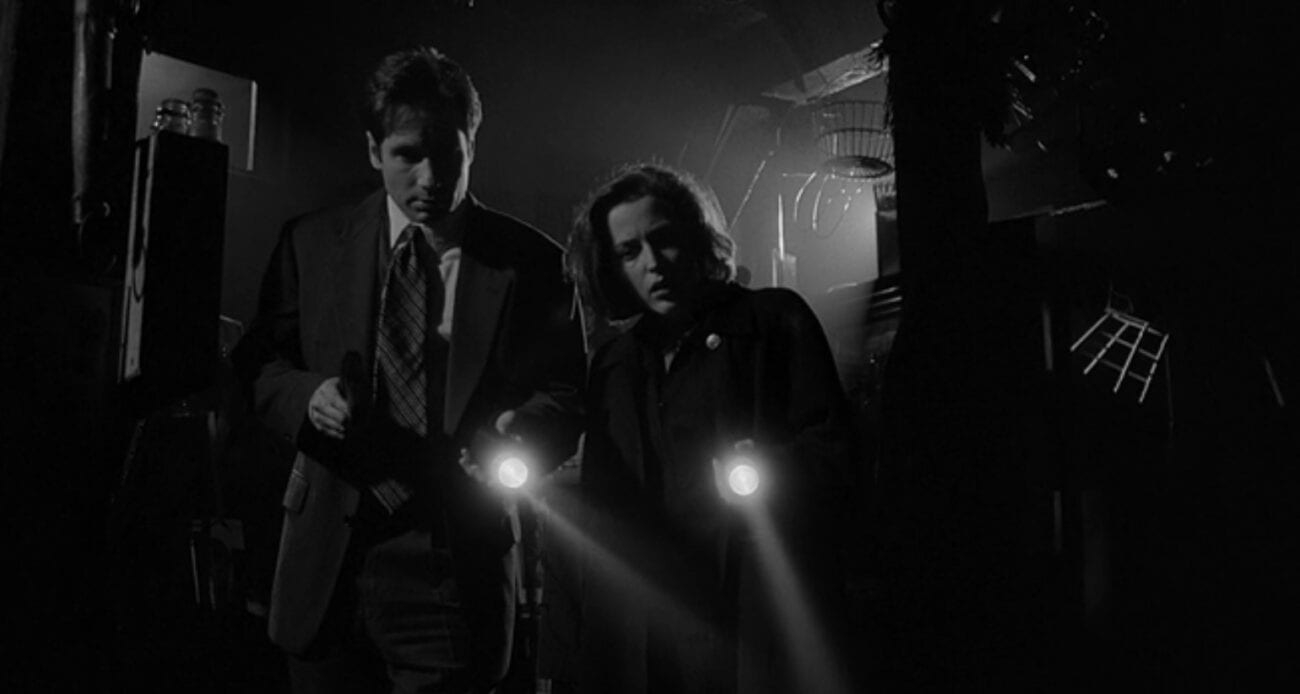 FBI Agents Mulder and Scully with flashlights in a black and white scene.