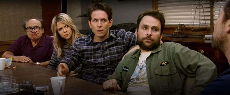 Frank, Dee, Dennis and Charlie look on incredulously as Mac denies their claims.