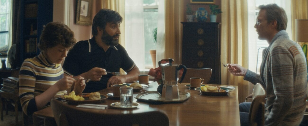 Beth, Wally and Frank all enjoy breakfast conversation around a large dining room table