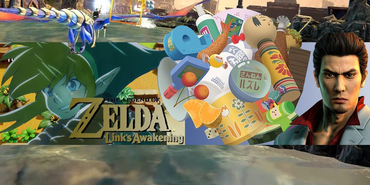 Collage of Zelda, Panzer Dragoon, Katamari Damacy, and Yakuza Kiwami 2