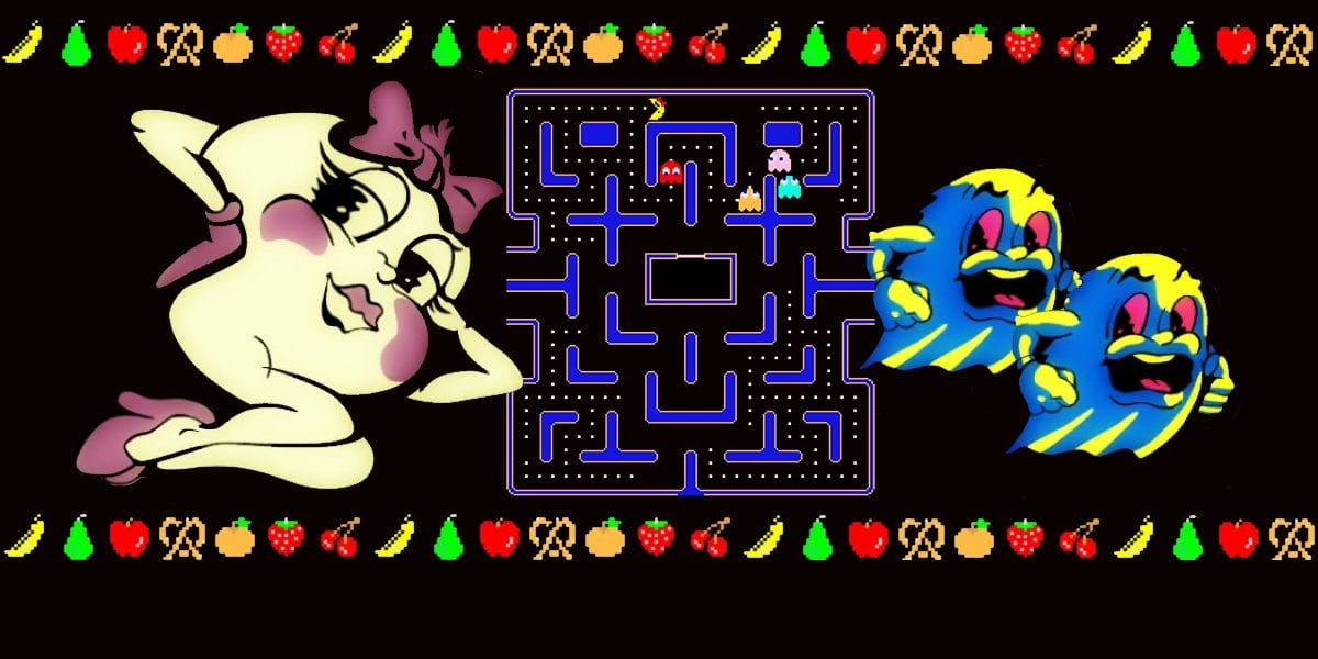 Ms Pac Man and two scared ghosts cover the screen with Level 9 in the background