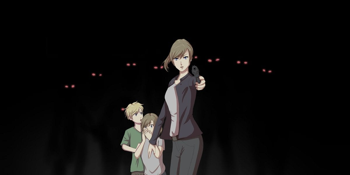 Art for Cover Your Eyes shows Chloe wielding a gun against eyes in the darkness while her children look on in fear