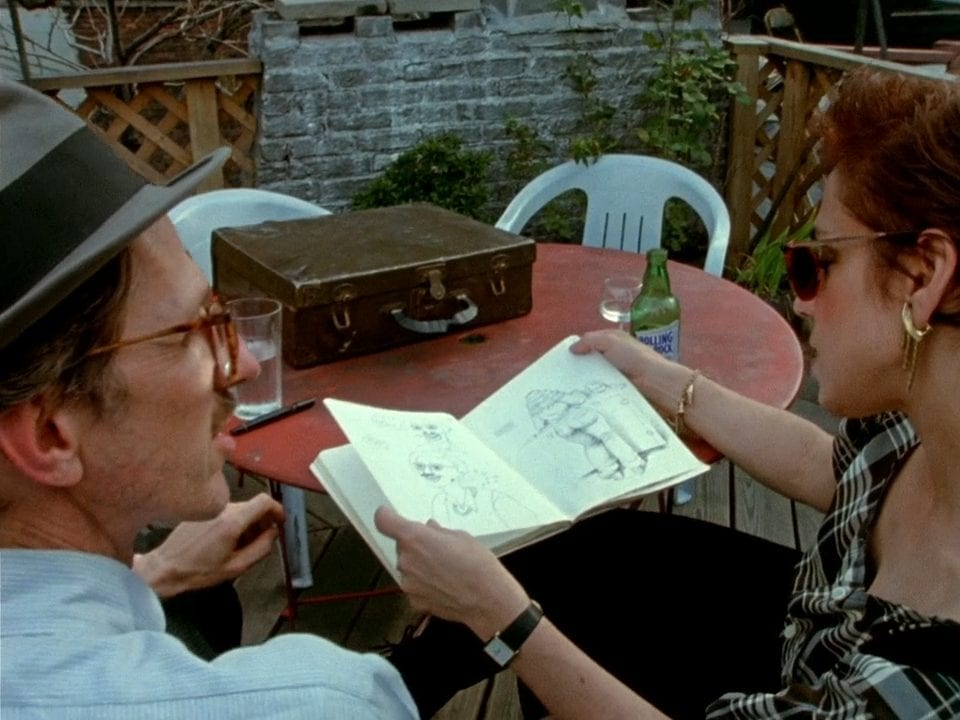 Robert Crumb and an ex girlfriend looking at his old drawings of her