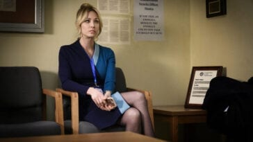 Cassie waits to be questioned in the waiting room.