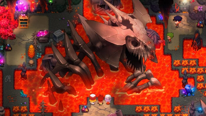 Screenshot of a fiery dungeon with a large skeleton in the middle in Nexomon
