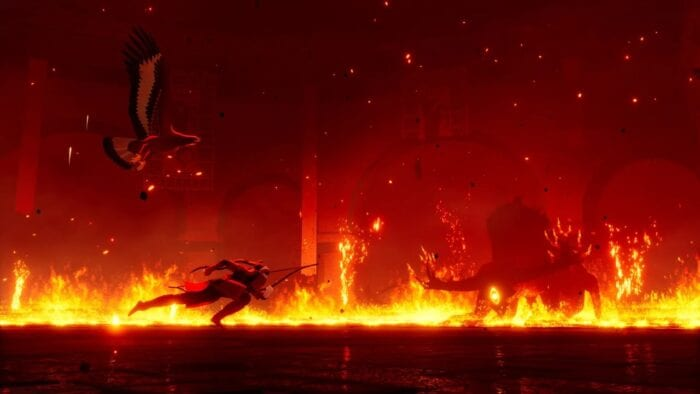the hunter runs around a ring of fire while a monster appoaches