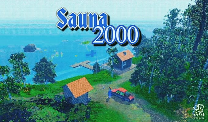 several buildings border a lake. the words SAUNA 2000 are displayed overtop