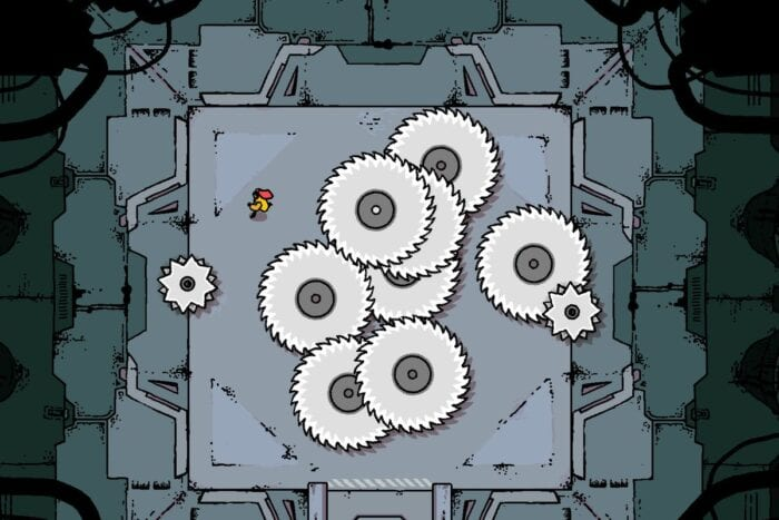 The player character of Disc Room avoids some saws