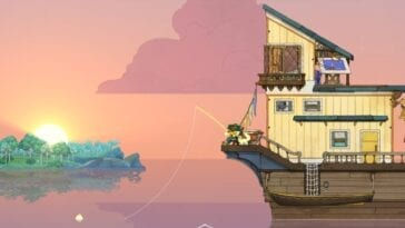 Screenshot of Spiritfarer sees a character fishing from the mobile tower