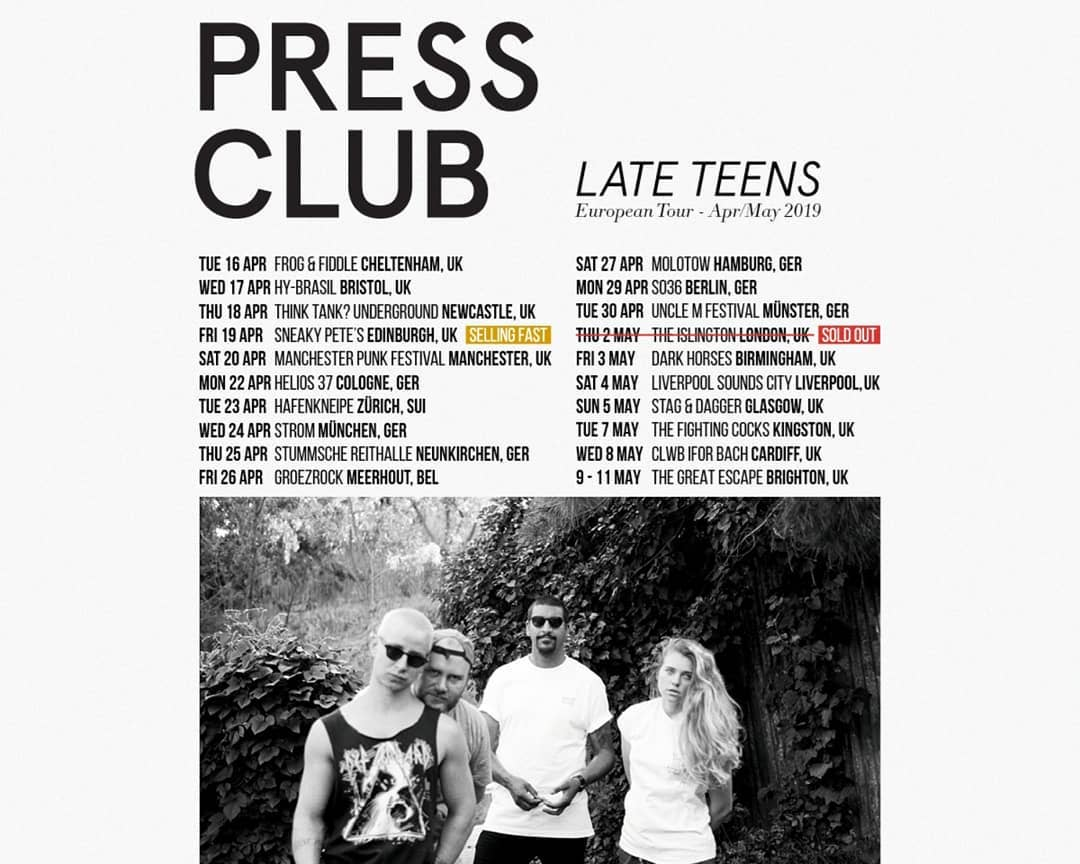 Poster of Press Clubs tour dates in 2019