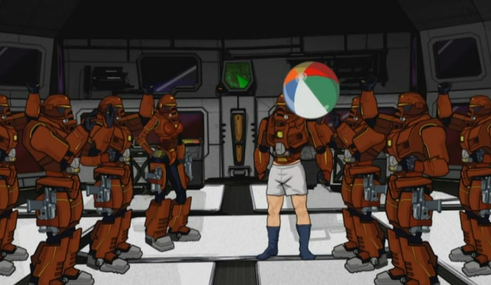 The Xtacles, a team of robot soldiers, bounce a beach ball around inside their airship.