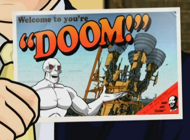 "A postcard featuring Killface, the Annihilatrix, and the text ""Welcome to you're 'doom'"""