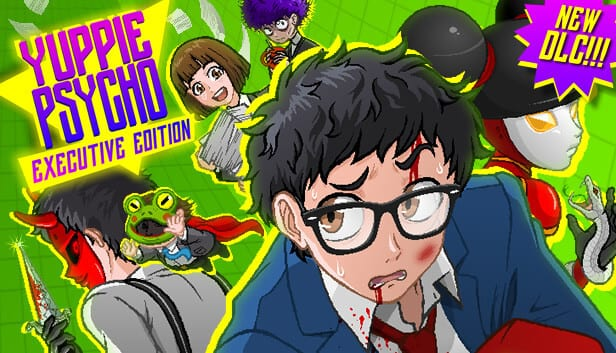 Yuppie Psycho features a bruised and battered yuppie surrounded by anime characters