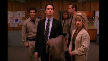 Truman, Cooper, Hawk, Andy, and Lucy stand in the lobby of the Twin Peaks Police Department