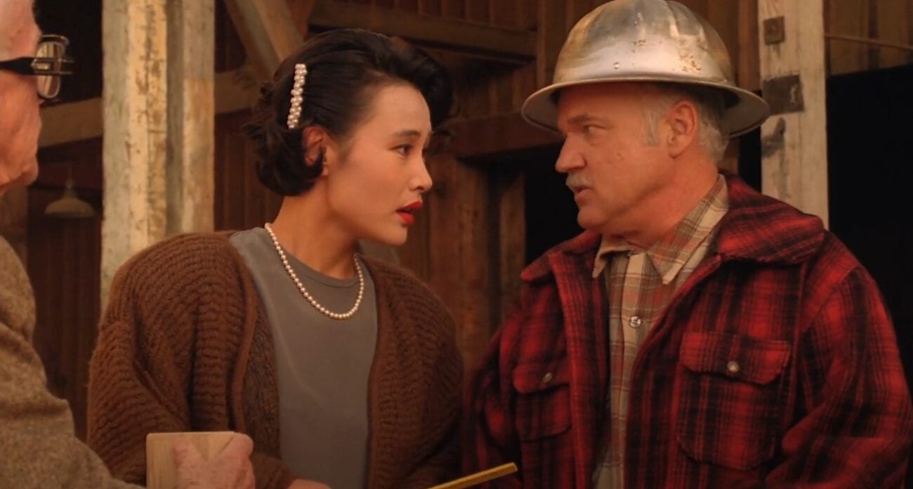 Josie Packard and Pete Martell handle an irate customer at the Packard sawmill.