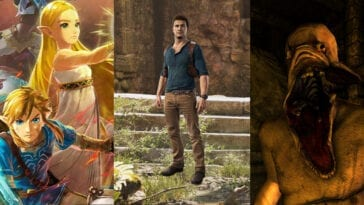 Zelda and Link in Age of Calamity; Nathan Drake, and an Amnesia monster