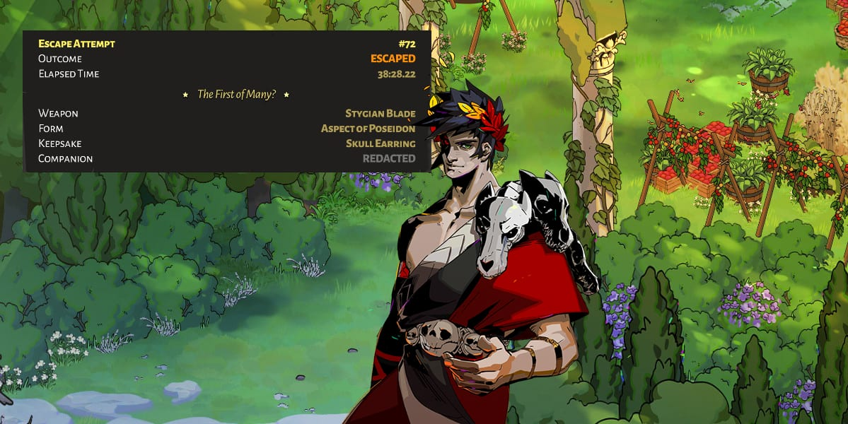 Prince Zagreus in front of Johnny's cleared game stats.