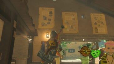 Link spots some recipes on the wall. Bolson and some Koroks look on.