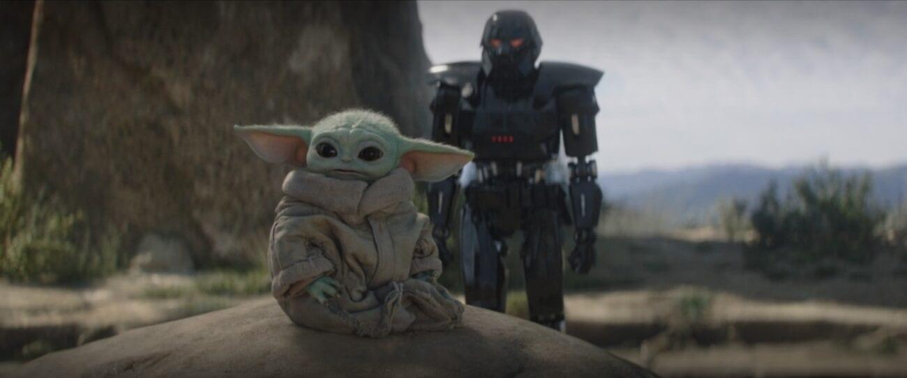 A Darktrooper approaches Grogu