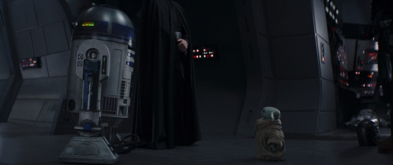 Grogu and R2-D2 look at each other