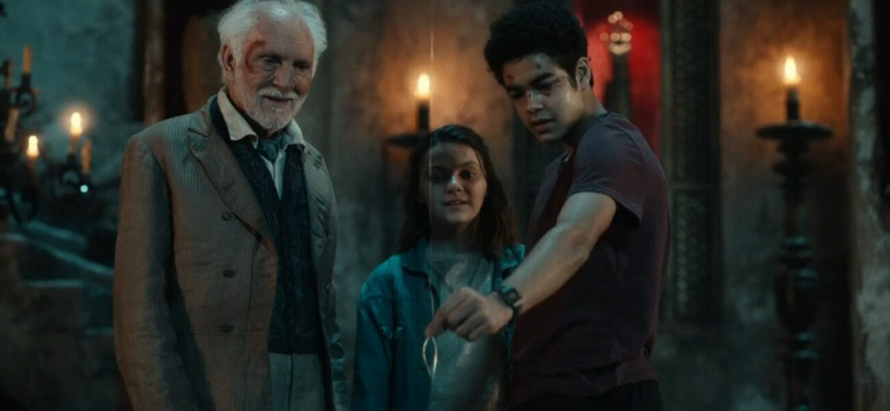 His Dark Materials S2E4 - Will pulls at a glowing line in front of him as Lyra and Giacomo look on