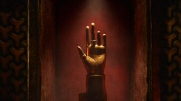 His Dark Materials S2E4 - A bust of a hand, missing the last two finger, on display in an alcove