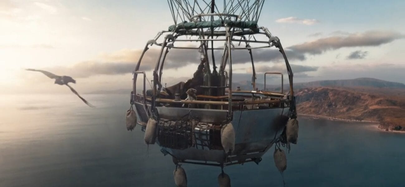 His Dark Materials S2E4 - Zoom in on the basket of Lee's balloon, with Jopari's daemon flying beside them
