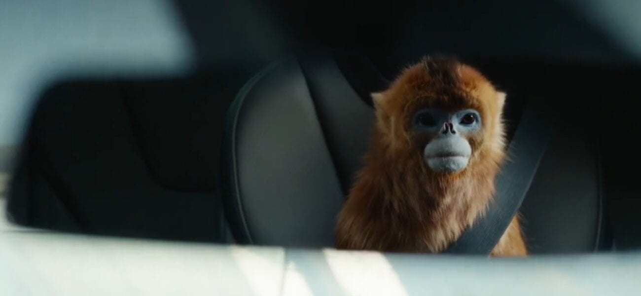 His Dark Materials S2E5 - The golden monkey viewed in a car's mirror, sitting seat belted in the back seat