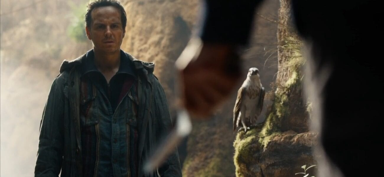 His Dark Materials S2E7 - John Parry and his daemon stand in a canyon, the Subtle Knife in Will's hand blurry in the foreground facing them