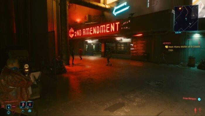 "Cyberpunk 2077 Screenshot shows a store called ""Second Amendment"""