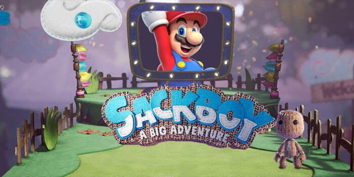 Sackboy sees Mario in the End of Level TV