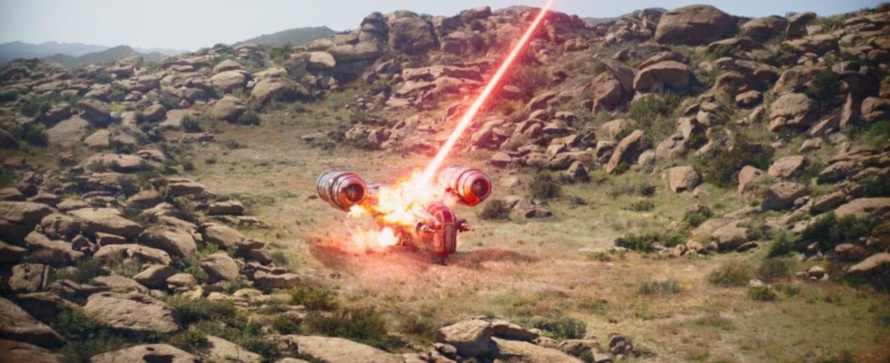 A laser bolt destroys the Razor Crest