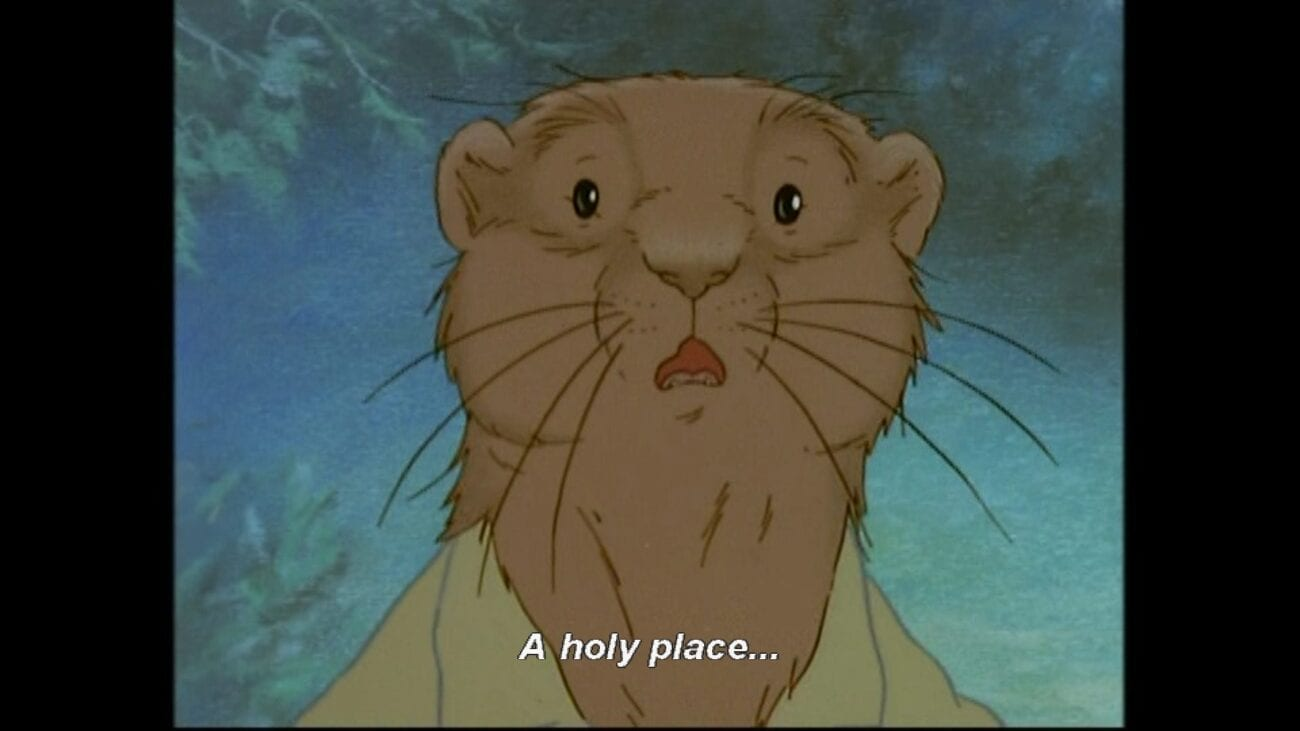 """Rat looks in awe at Pan, with the subtitle, """"A holy place"""""""
