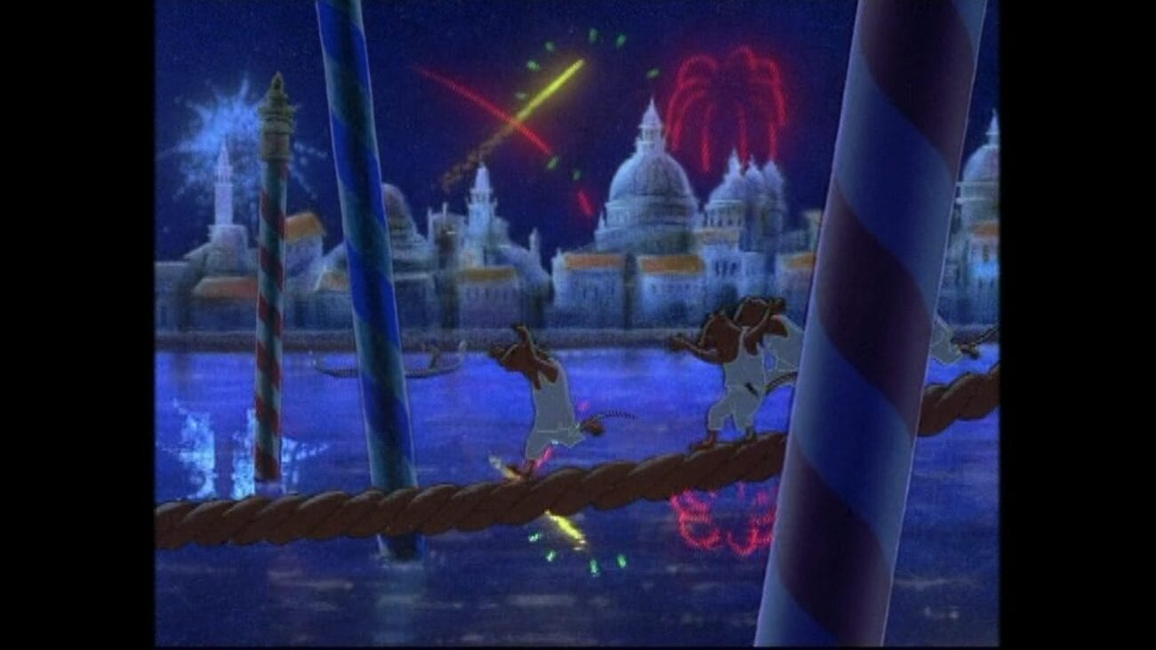 Rat dances on a ship's rope while fireworks burst over Constantinople in the background