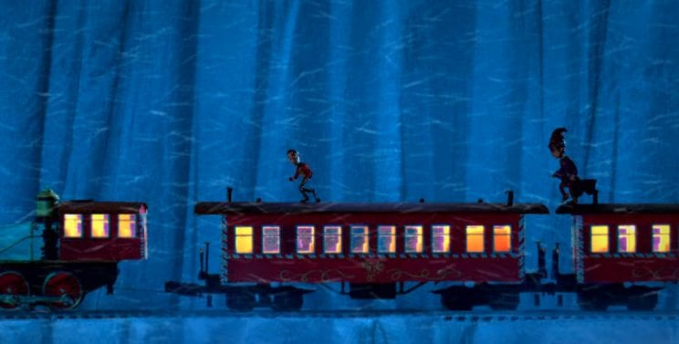 Claymation versions of Abed and Professor Duncan walk across the roof of the Polar Express