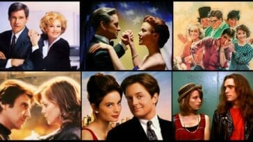 Romantic comedies collage of Working Girl, The American President, Better Off Dead, Frankie and Johnny, For Love or Money, and Singles