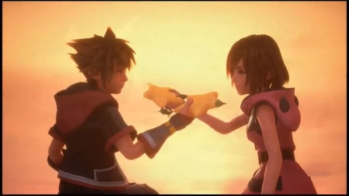 Sora and Kairi exchange Papou fruits