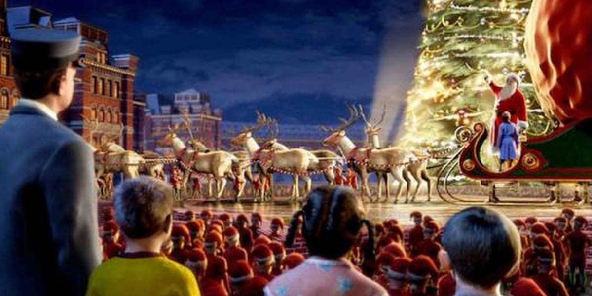The Conductor, with three of the kids, watching Santa and his reindeer in The Polar Express