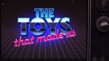 The neon logo for docuseries The Toys That Made Us on a retro 1970s style wooden box television set