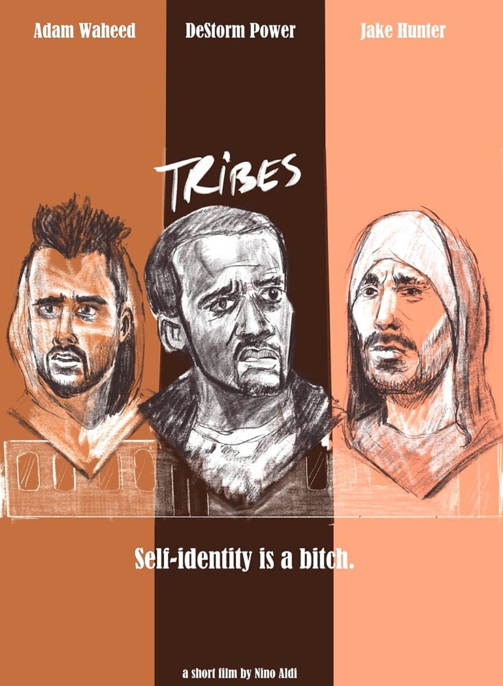 Actors Adam Waheed, DeStorm Power and Jake Hunter on the poster for the short film Tribes